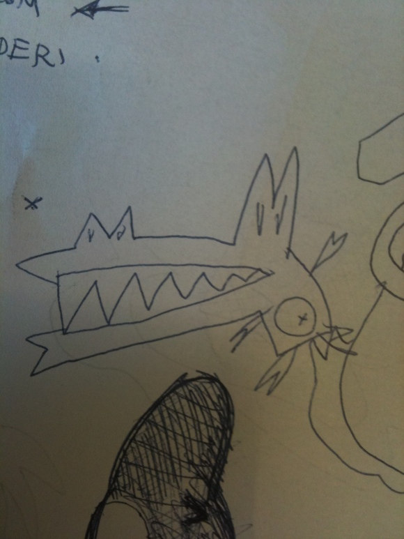 Amo il web e i coccodrilli: uno degli scarabocchi.